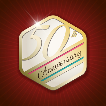 50 years jubilee: 50th Anniversary - Classy and Modern golden emblem  Seal  Badge - vector illustration on read rays background