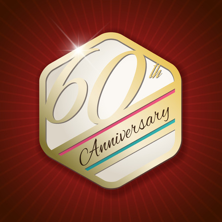 sixtieth: 60th Anniversary - Classy and Modern golden emblem  Seal  Badge - vector illustration on read rays background