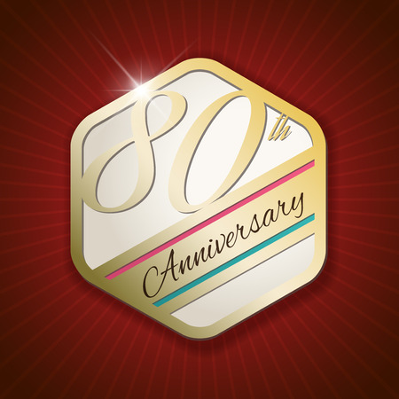 80th: 80th Anniversary - Classy and Modern golden emblem  Seal  Badge - vector illustration on read rays background