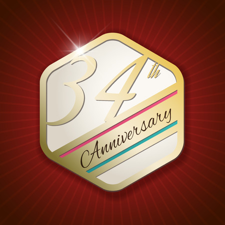 34: 34th Anniversary - Classy and Modern golden emblem  Seal  Badge - vector illustration on read rays background