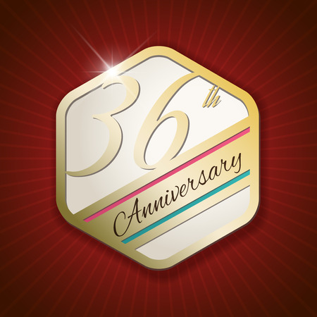 sixth birthday: 36th Anniversary - Classy and Modern golden emblem  Seal  Badge - vector illustration on read rays background