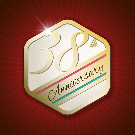 38: 38th Anniversary - Classy and Modern golden emblem  Seal  Badge - vector illustration on read rays background