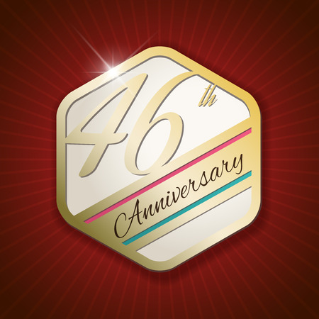 sixth birthday: 46th Anniversary - Classy and Modern golden emblem  Seal  Badge - vector illustration on read rays background