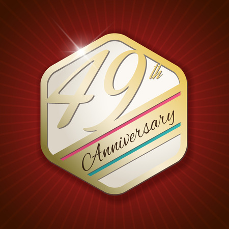 ninth birthday: 49th Anniversary - Classy and Modern golden emblem  Seal  Badge - vector illustration on read rays background