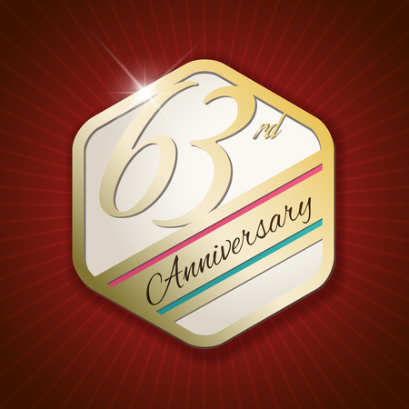 third birthday: 63rd Anniversary - Classy and Modern golden emblem  Seal  Badge - vector illustration on read rays background