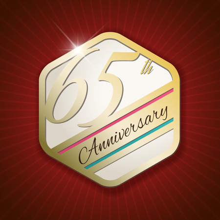 65th: 65th Anniversary - Classy and Modern golden emblem  Seal  Badge - vector illustration on read rays background Illustration