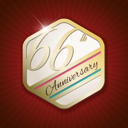 sixth birthday: 66th Anniversary - Classy and Modern golden emblem  Seal  Badge - vector illustration on read rays background