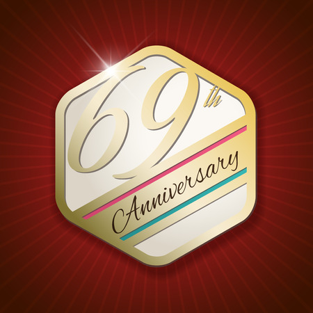 ninth birthday: 69th Anniversary - Classy and Modern golden emblem  Seal  Badge - vector illustration on read rays background