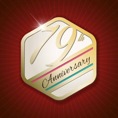 ninth birthday: 79th Anniversary - Classy and Modern golden emblem  Seal  Badge - vector illustration on read rays background
