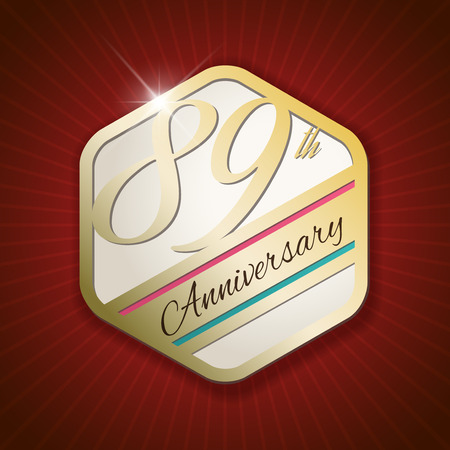 ninth birthday: 89th Anniversary - Classy and Modern golden emblem  Seal  Badge - vector illustration on read rays background