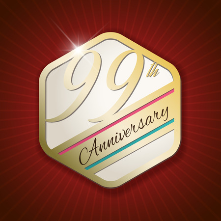 99: 99th Anniversary - Classy and Modern golden emblem  Seal  Badge - vector illustration on read rays background Illustration