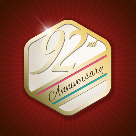 92: 92nd Anniversary - Classy and Modern golden emblem  Seal  Badge - vector illustration on read rays background Illustration