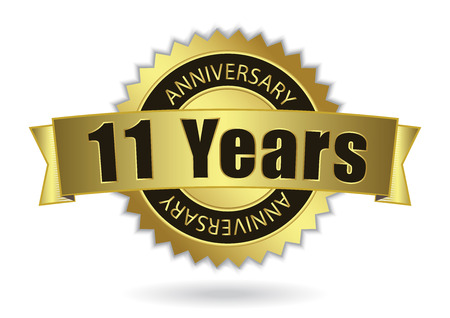 eleventh birthday: 11 Years Anniversary - Retro Golden Ribbon, EPS 10 vector illustration
