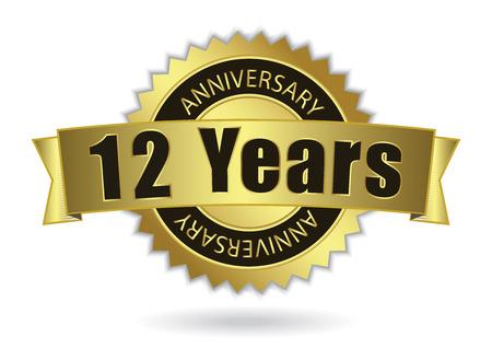 12 Years Anniversary - Retro Golden Ribbon, EPS 10 vector illustration