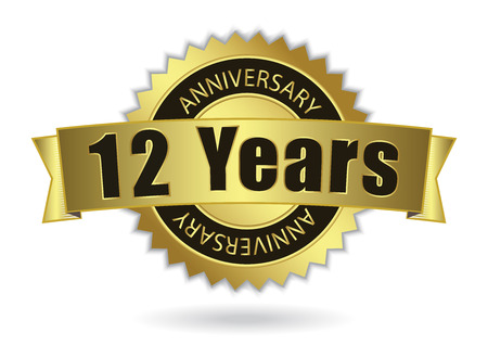 10 12 years: 12 Years Anniversary - Retro Golden Ribbon, EPS 10 vector illustration