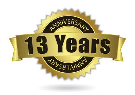 13 Years Anniversary - Retro Golden Ribbon, EPS 10 vector illustration Ilustração