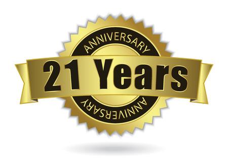 anniversaries: 21 Years Anniversary - Retro Golden Ribbon, EPS 10 vector illustration
