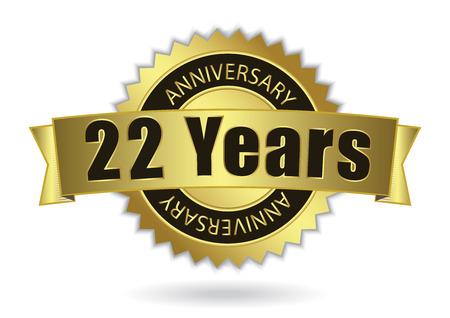 22 Years Anniversary - Retro Golden Ribbon, EPS 10 vector illustration