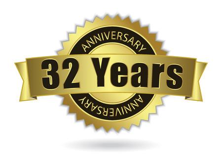 32 Years Anniversary - Retro Golden Ribbon, EPS 10 vector illustration Illustration