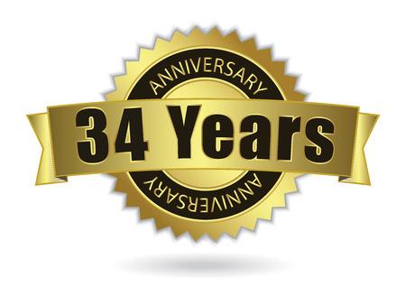 34 Years Anniversary - Retro Golden Ribbon, EPS 10 vector illustration Ilustração