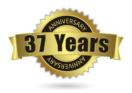 seven years: 37 Years Anniversary - Retro Golden Ribbon, EPS 10 vector illustration Illustration