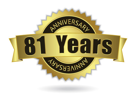 81: 81 Years Anniversary - Retro Golden Ribbon, EPS 10 vector illustration
