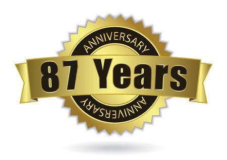 seven years: 87 Years Anniversary - Retro Golden Ribbon, EPS 10 vector illustration