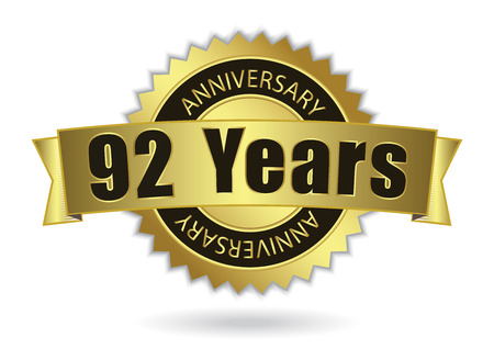 92: 92 Years Anniversary - Retro Golden Ribbon, EPS 10 vector illustration