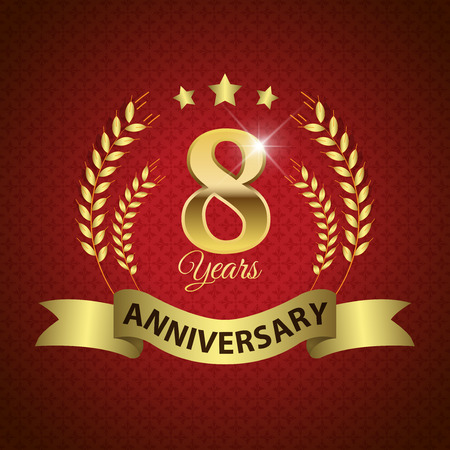 8 years birthday: Celebrating 8 Years Anniversary - Golden Laurel Wreath Seal with Golden Ribbon Illustration