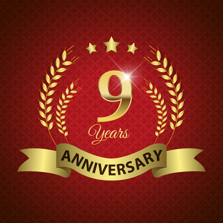 9th: Celebrating 9 Years Anniversary - Golden Laurel Wreath Seal with Golden Ribbon Illustration