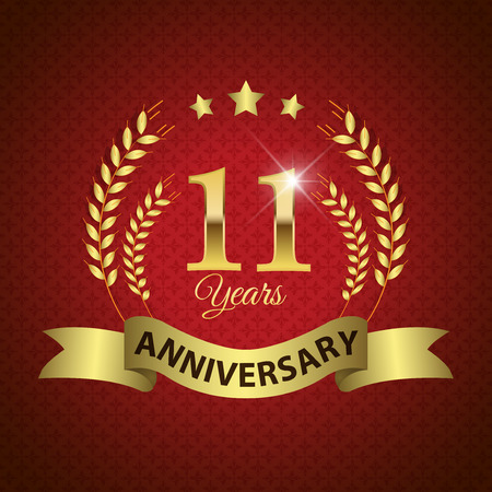 11 years: Celebrating 11 Years Anniversary - Golden Laurel Wreath Seal with Golden Ribbon