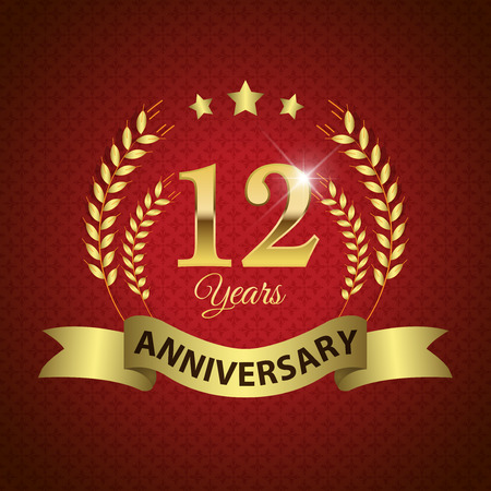 Celebrating 12 Years Anniversary - Golden Laurel Wreath Seal with Golden Ribbon - Layered EPS 10 Vector