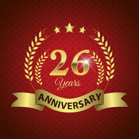 twenty six: Celebrating 26 Years Anniversary - Golden Laurel Wreath Seal with Golden Ribbon Illustration