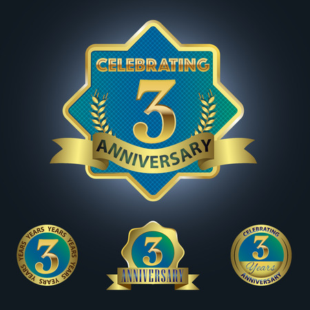 third birthday: Celebrating 3 Years Anniversary - Blue seal with golden ribbon Illustration