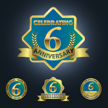sixth birthday: Celebrating 6 Years Anniversary - Blue seal with golden ribbon