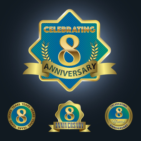 8 years birthday: Celebrating 8 Years Anniversary - Blue seal with golden ribbon
