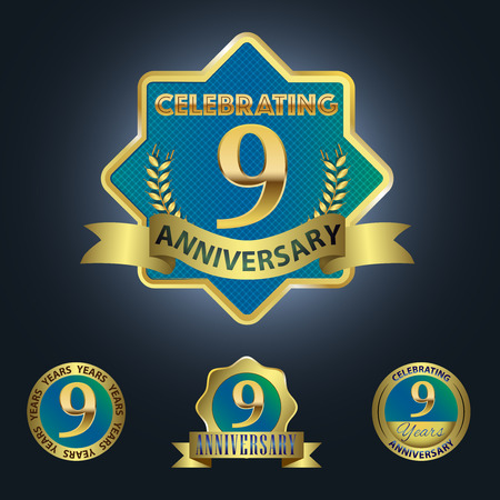 ninth birthday: Celebrating 9 Years Anniversary - Blue seal with golden ribbon