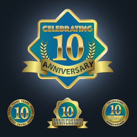 golden laurel wreath 10 years: Celebrating 10 Years Anniversary - Blue seal with golden ribbon Illustration
