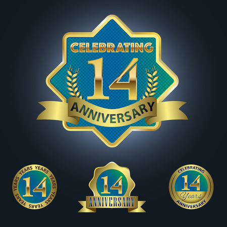 14th: Celebrating 14 Years Anniversary - Blue seal with golden ribbon Illustration