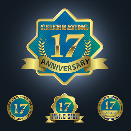 17 years: Celebrating 17 Years Anniversary - Blue seal with golden ribbon