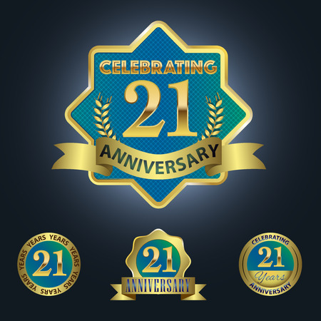 Celebrating 21 Years Anniversary - Blue seal with golden ribbon