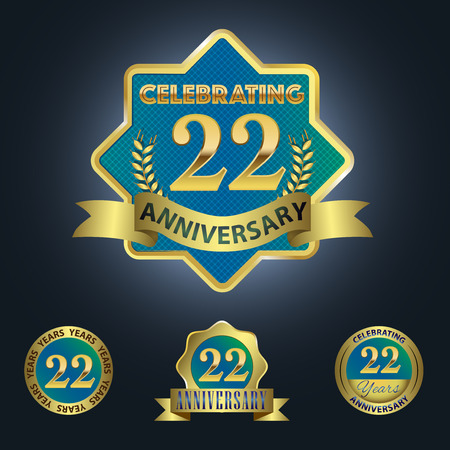 Celebrating 22 Years Anniversary - Blue seal with golden ribbon 일러스트