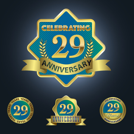 ninth birthday: Celebrating 29 Years Anniversary - Blue seal with golden ribbon Illustration