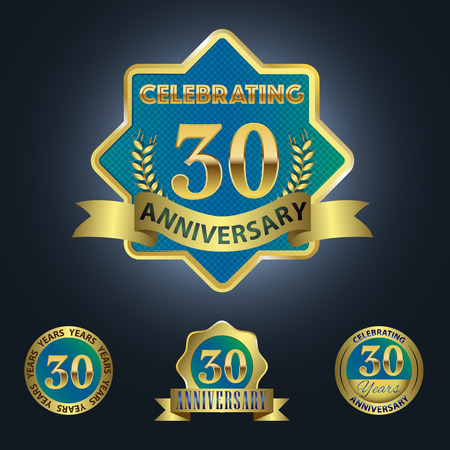 30 years: Celebrating 30 Years Anniversary - Blue seal with golden ribbon