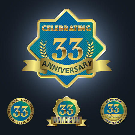 third birthday: Celebrating 33 Years Anniversary - Blue seal with golden ribbon Illustration