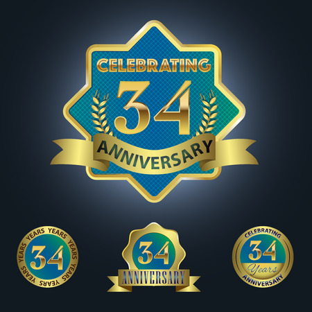 Celebrating 34 Years Anniversary - Blue seal with golden ribbon