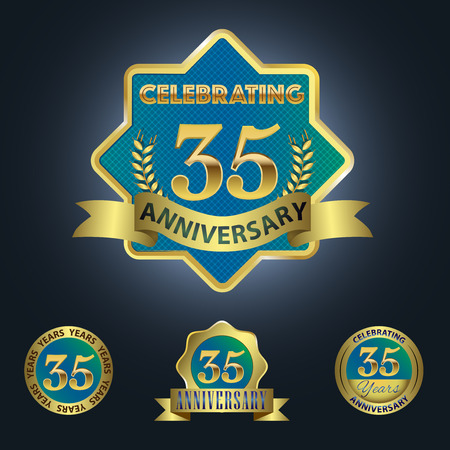 Celebrating 35 Years Anniversary - Blue seal with golden ribbon 일러스트