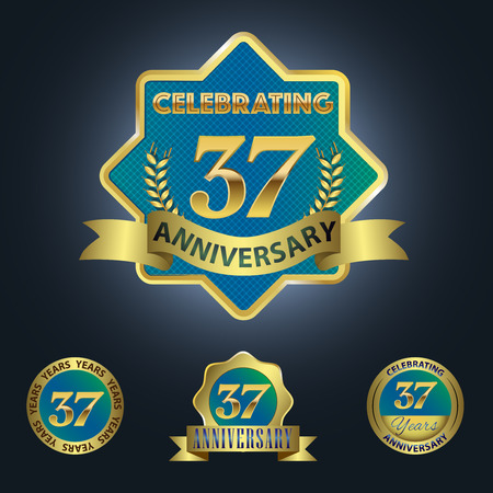 seven years: Celebrating 37 Years Anniversary - Blue seal with golden ribbon
