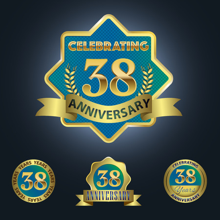 Celebrating 38 Years Anniversary - Blue seal with golden ribbon