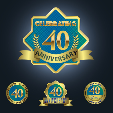 Celebrating 40 Years Anniversary - Blue seal with golden ribbon Vector